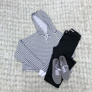 H&M Striped Cropped Hoodie